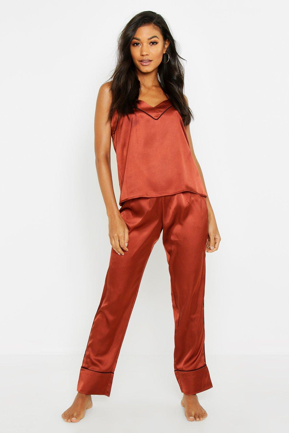 043bea42a2 Boohoo Piped Cami   Trouser Pj Set in Red - Lyst