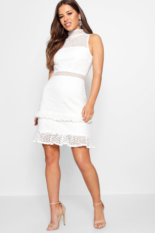 29ffe0653553 Boohoo Petite Corded Lace Peplum Hem Dress in White - Lyst