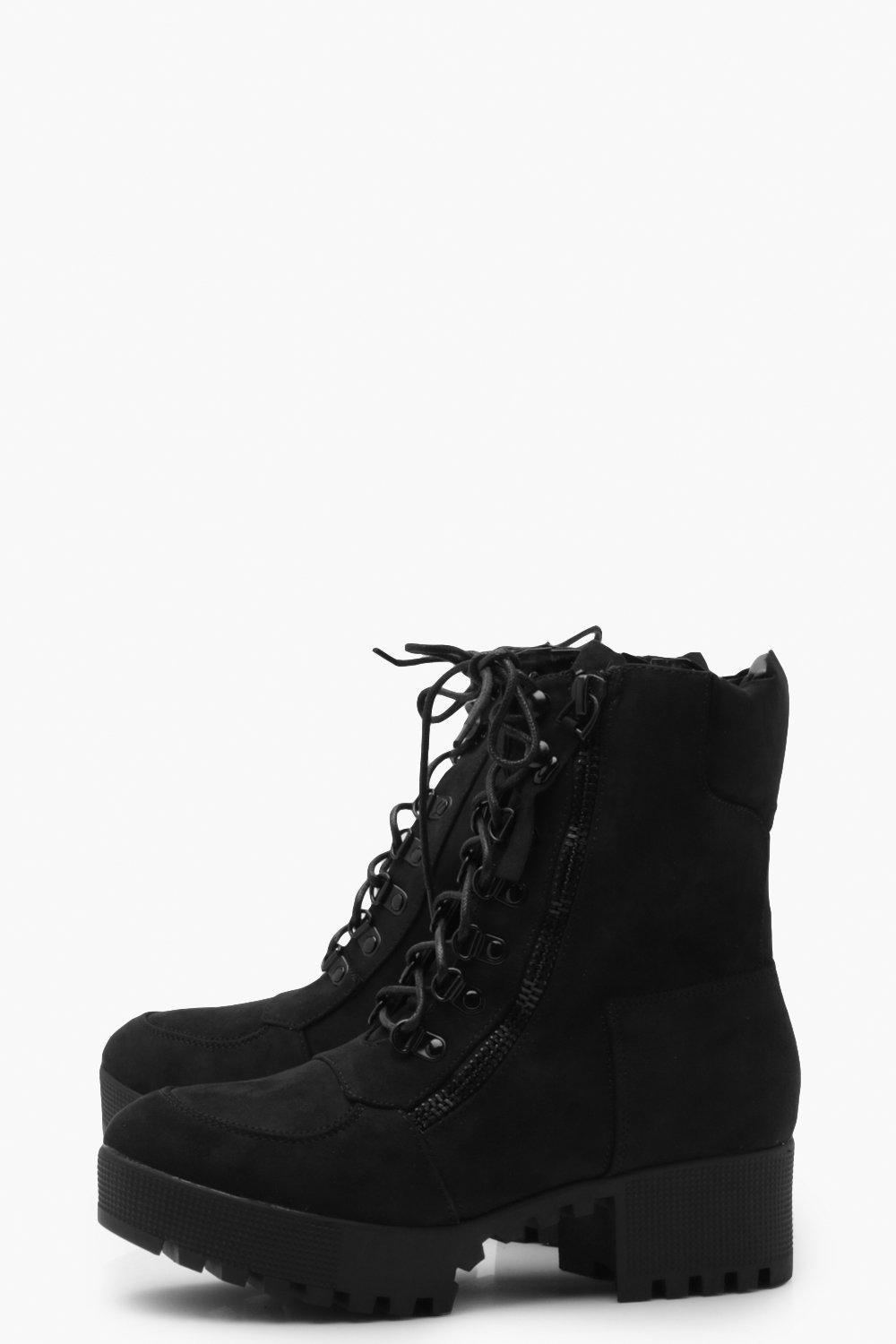 873721c827 ... Chunky Zip And Lace Up Hiker Boots - Lyst. View fullscreen