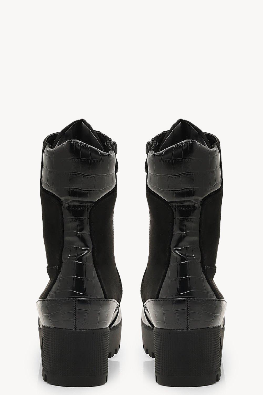 74387d75f03 Boohoo Croc Mix Chunky Hiker Boots in Black - Lyst