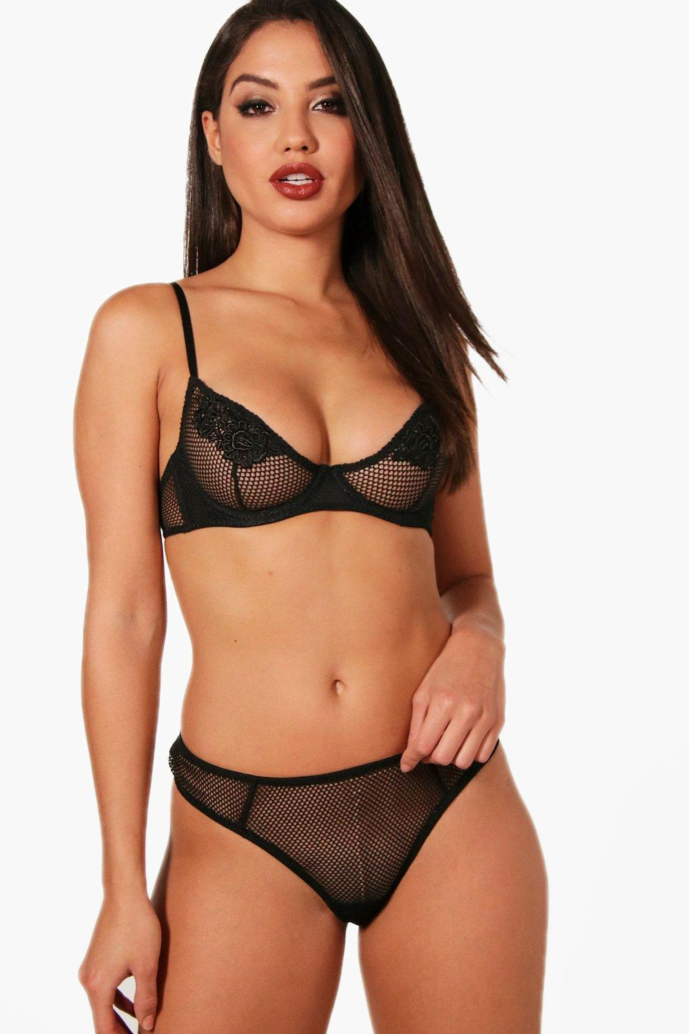 ef0522bb17 Lyst - Boohoo Eva Fishnet   Applique Underwire Bra in Black