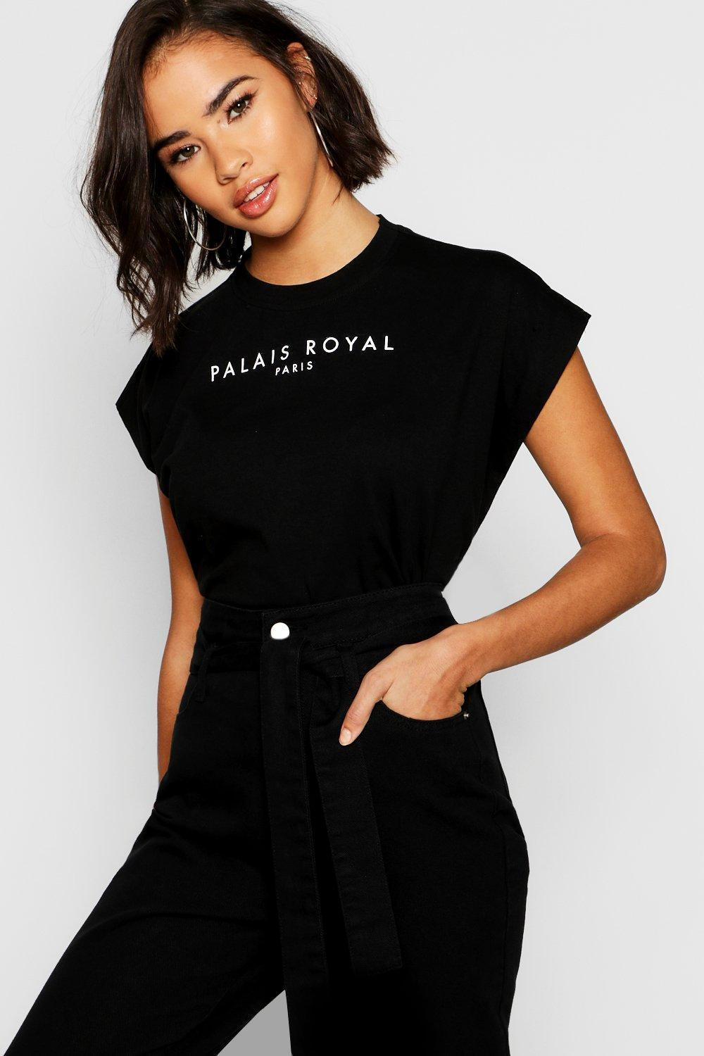 fa2b77197e Boohoo Cotton Cap Sleeve Slogan T-shirt in Black - Lyst