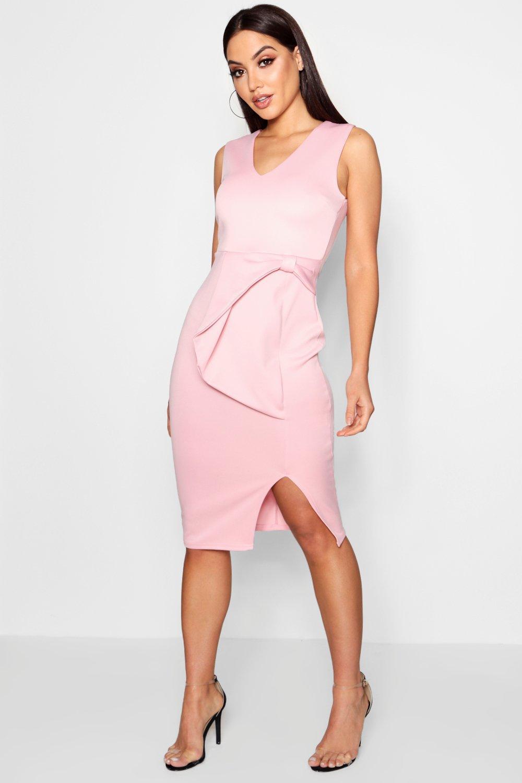 19c77b4a88eb Lyst - Boohoo Bow Detail Midi Dress in Pink