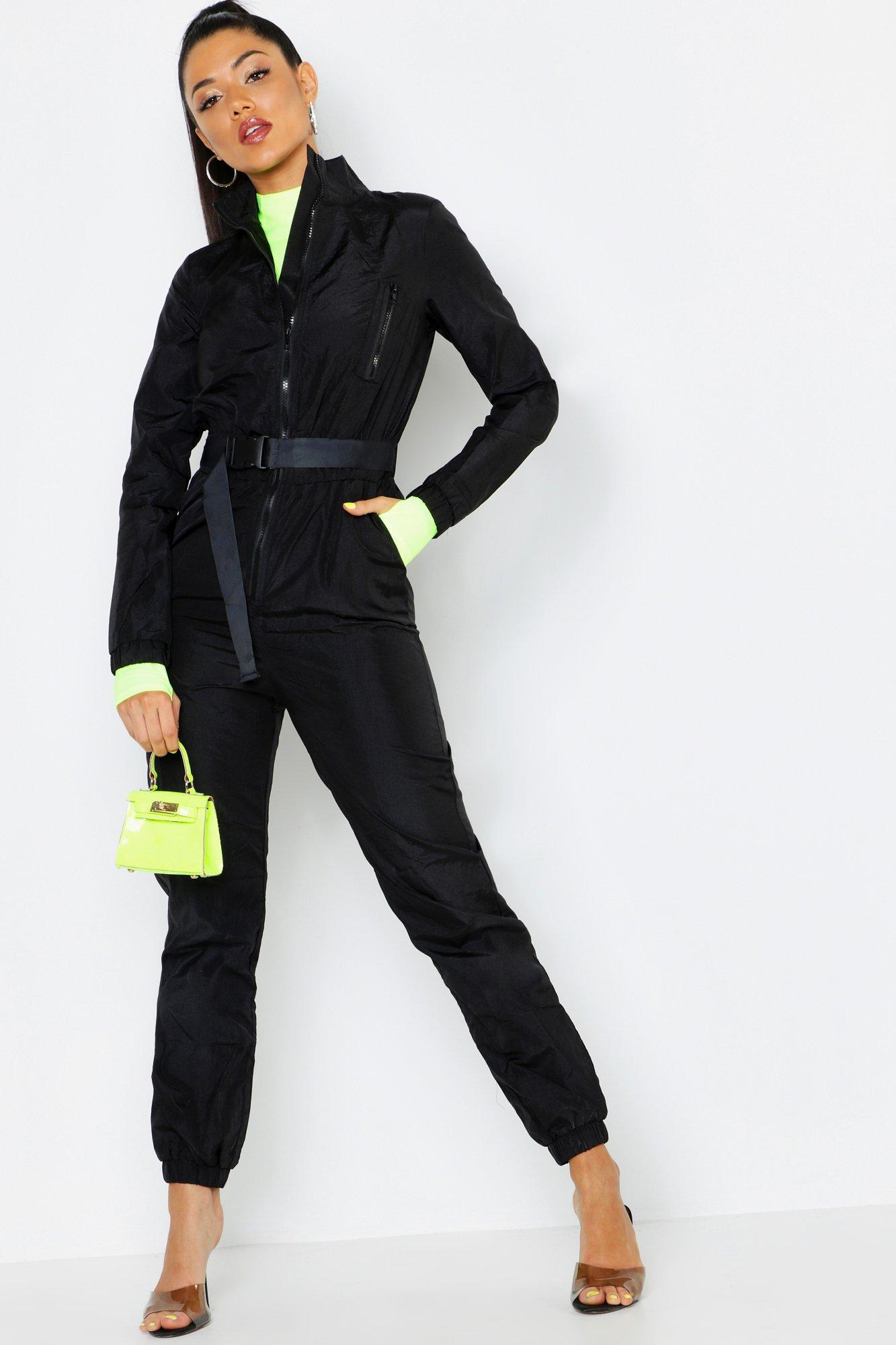 1fe7e8228fb Boohoo Shell Suit Safety Buckle Jumpsuit in Black - Lyst