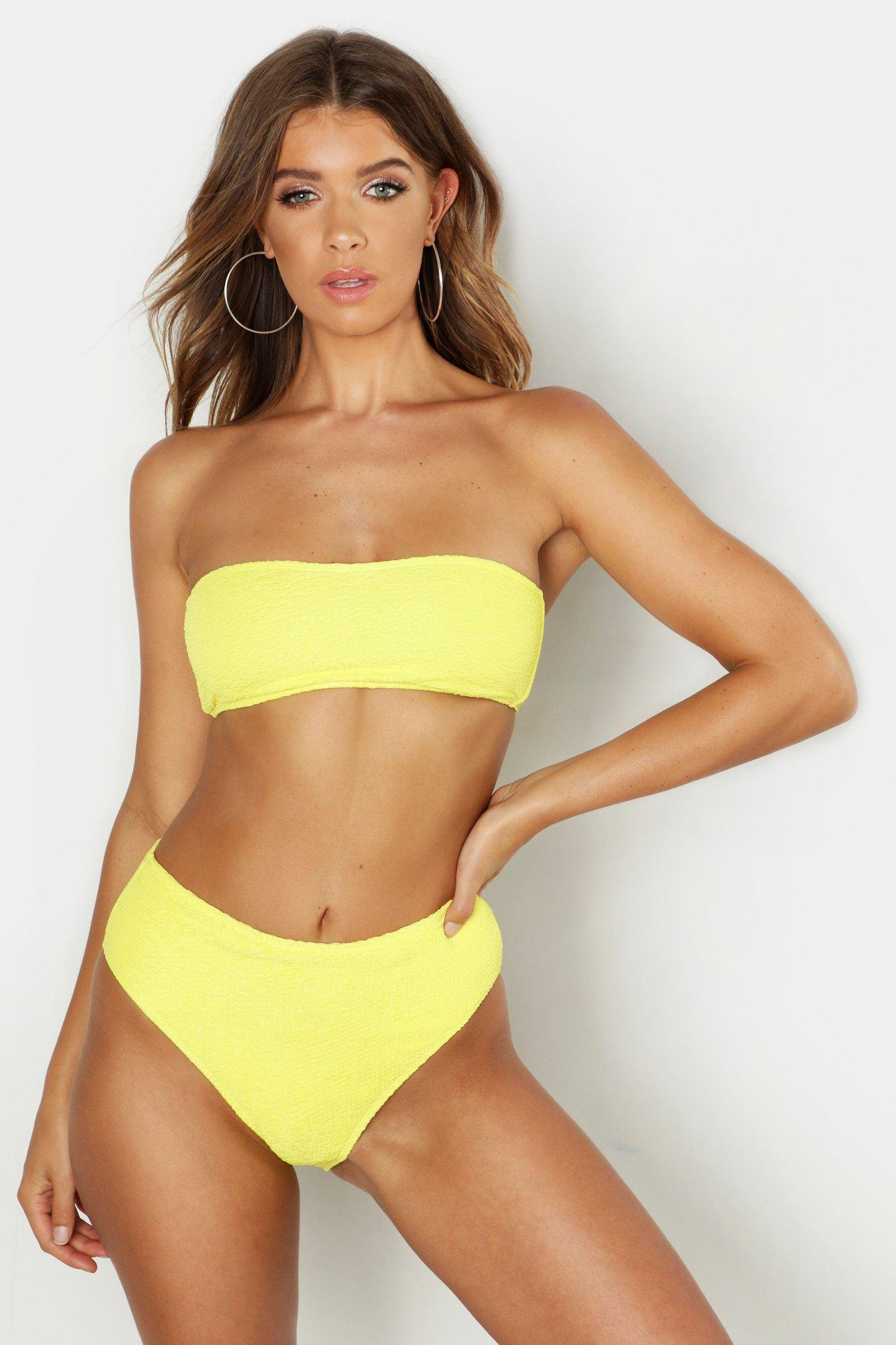 88807e7f1b1a2 Lyst - Boohoo Mix   Match Crinkle Bandeau Top in Yellow