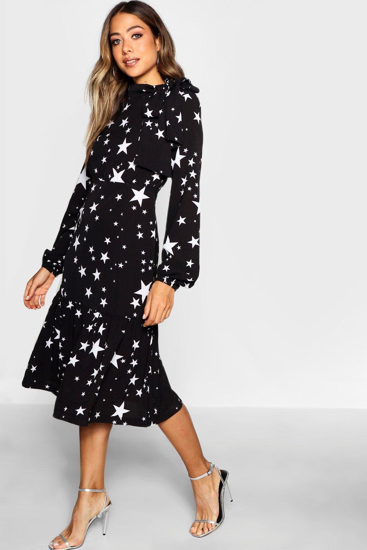 26e89a80fce4 Boohoo Tie Neck Star Print Midi Dress in Black - Lyst