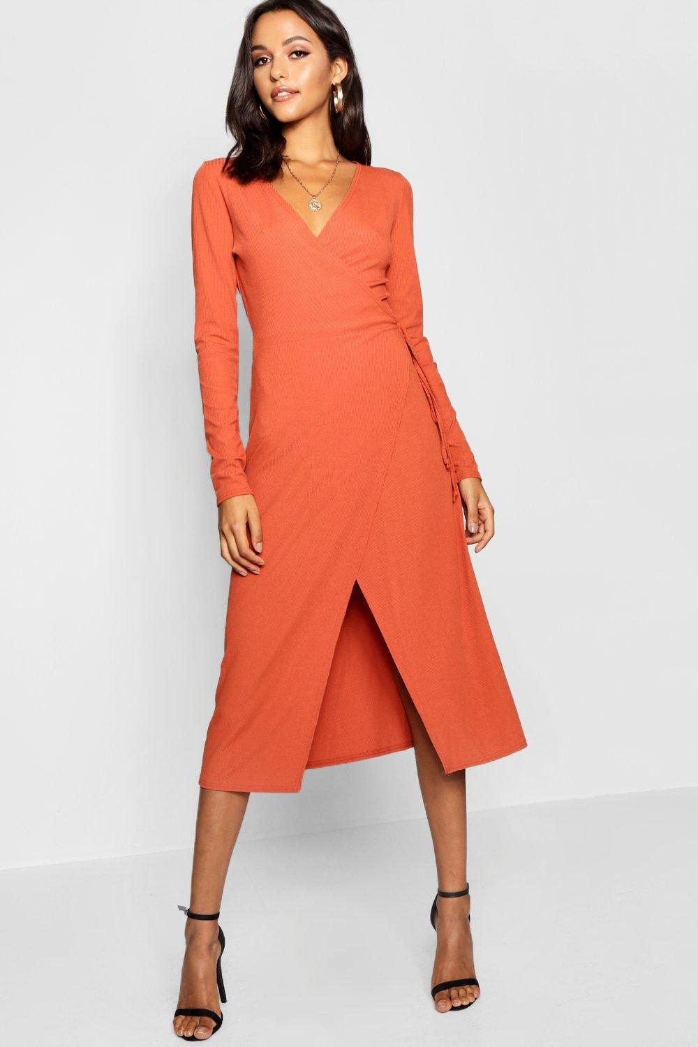 80024c50fd8b Lyst - Boohoo Tall Rib Wrap Jersey Dress in Orange