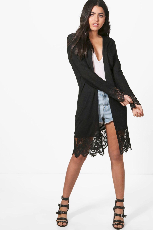 Boohoo Harriet Lace Trim Fine Knit Maxi Kimono Cardigan in Black ...
