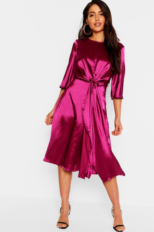 d44e7f7da Boohoo - Purple Satin Knot Front Kimono Sleeve Midi Dress - Lyst. View  fullscreen