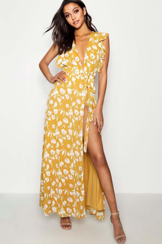 c3430e6268 Boohoo - Yellow Floral Frill Detail Wrap Maxi Dress - Lyst. View fullscreen