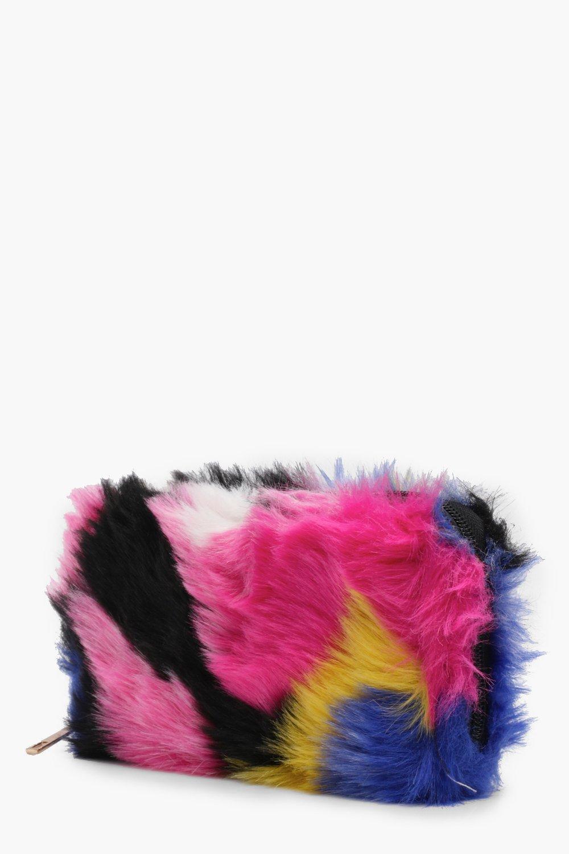 6acc071bd7 Lyst - Boohoo Amy Multi Colour Faux Fur Purse