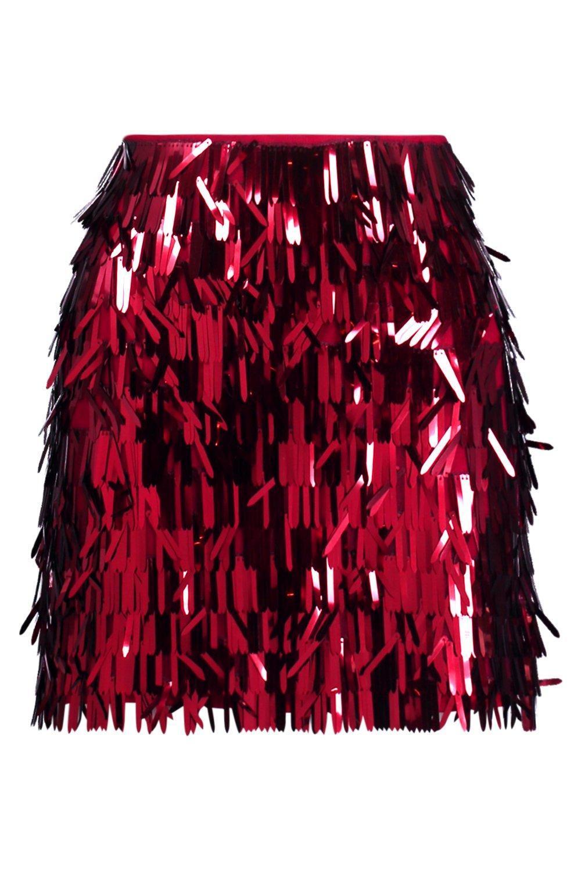 d7b147e157fe Boohoo - Pink Tall Sequin Tassel Mini Skirt - Lyst. View fullscreen