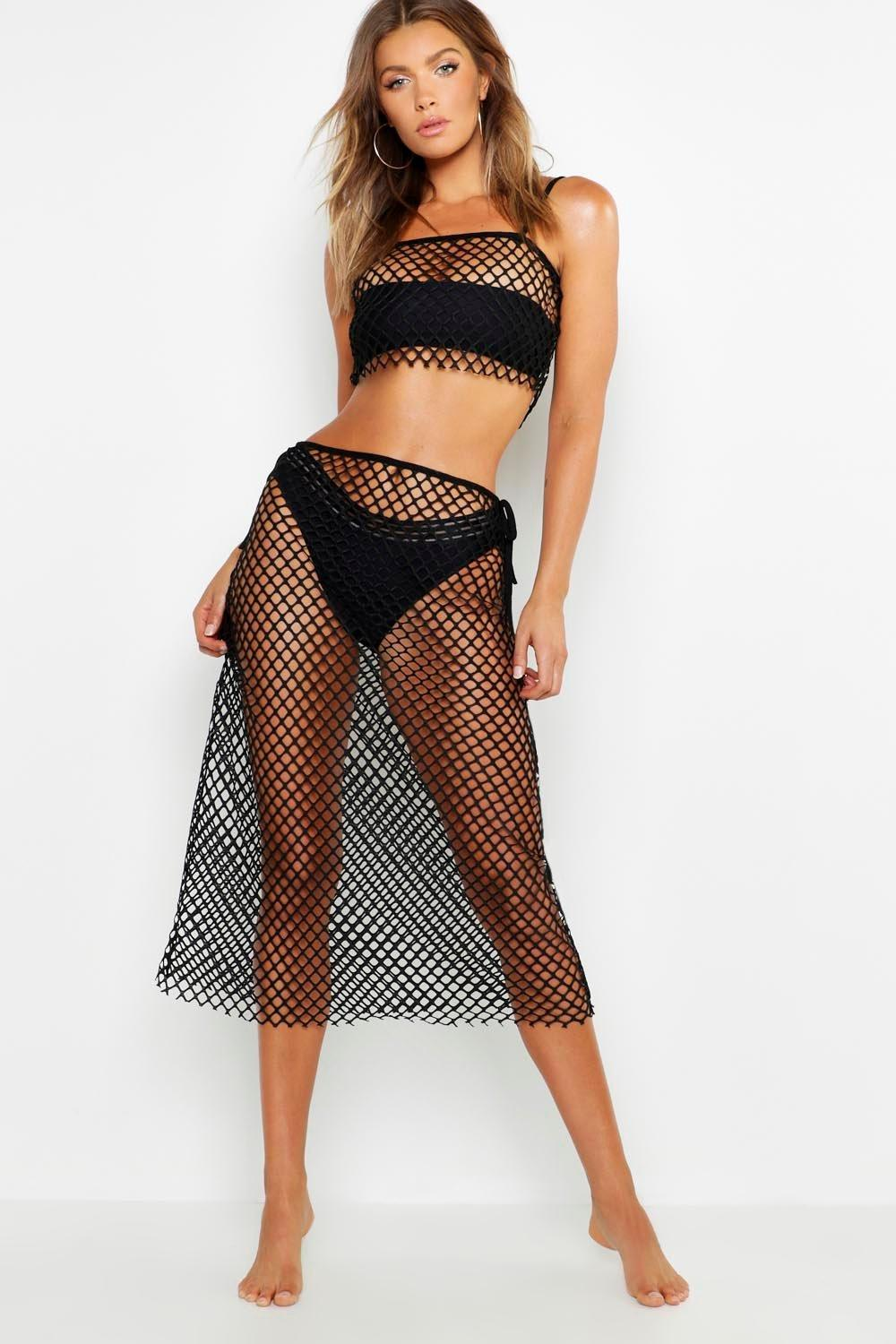 53194fa499 Boohoo Fishnet Maxi Beach Skirt Co-ord in Black - Lyst