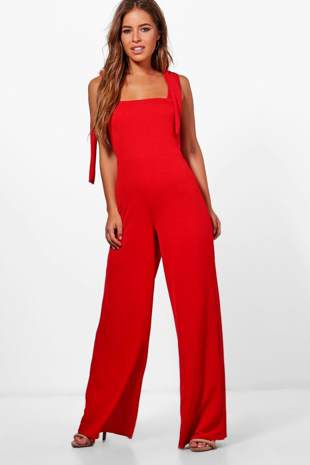 9639a87e6fa Boohoo Petite Tie Detail Wide Leg Jumpsuit in Red - Lyst