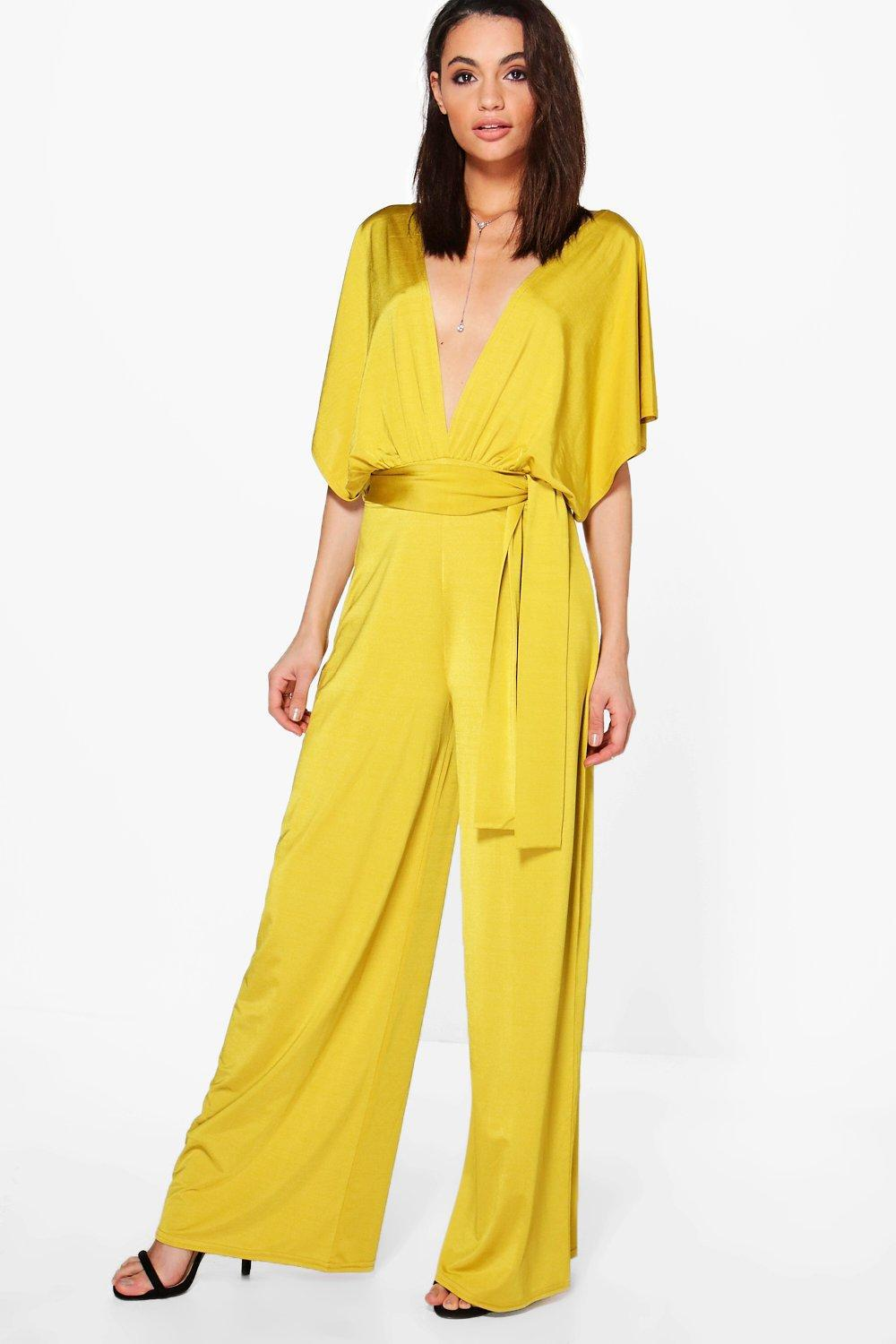 8f1f5235f3be Boohoo Plunge Kimono Style Wide Leg Jumpsuit in Yellow - Lyst