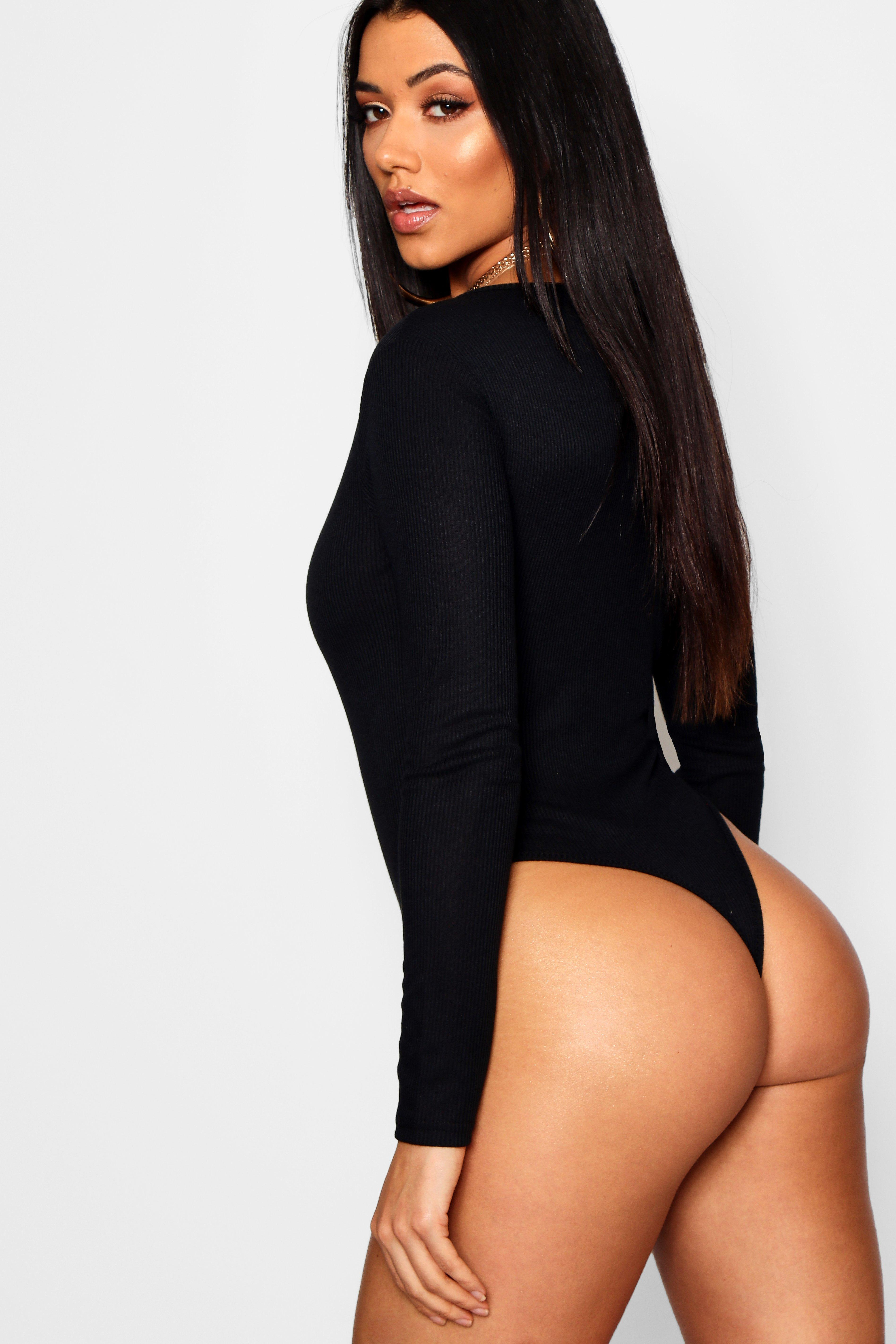 8351a41ab8 Boohoo - Black Basic V Neck Ruched Front Thong Bodysuit - Lyst. View  fullscreen
