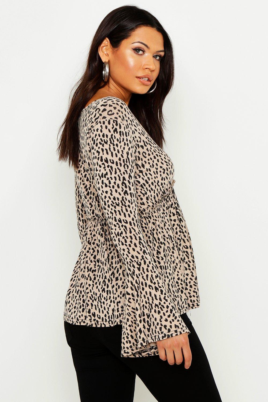 3233651e0a83c Boohoo - Multicolor Maternity Leopard Smock Wrap Top - Lyst. View fullscreen