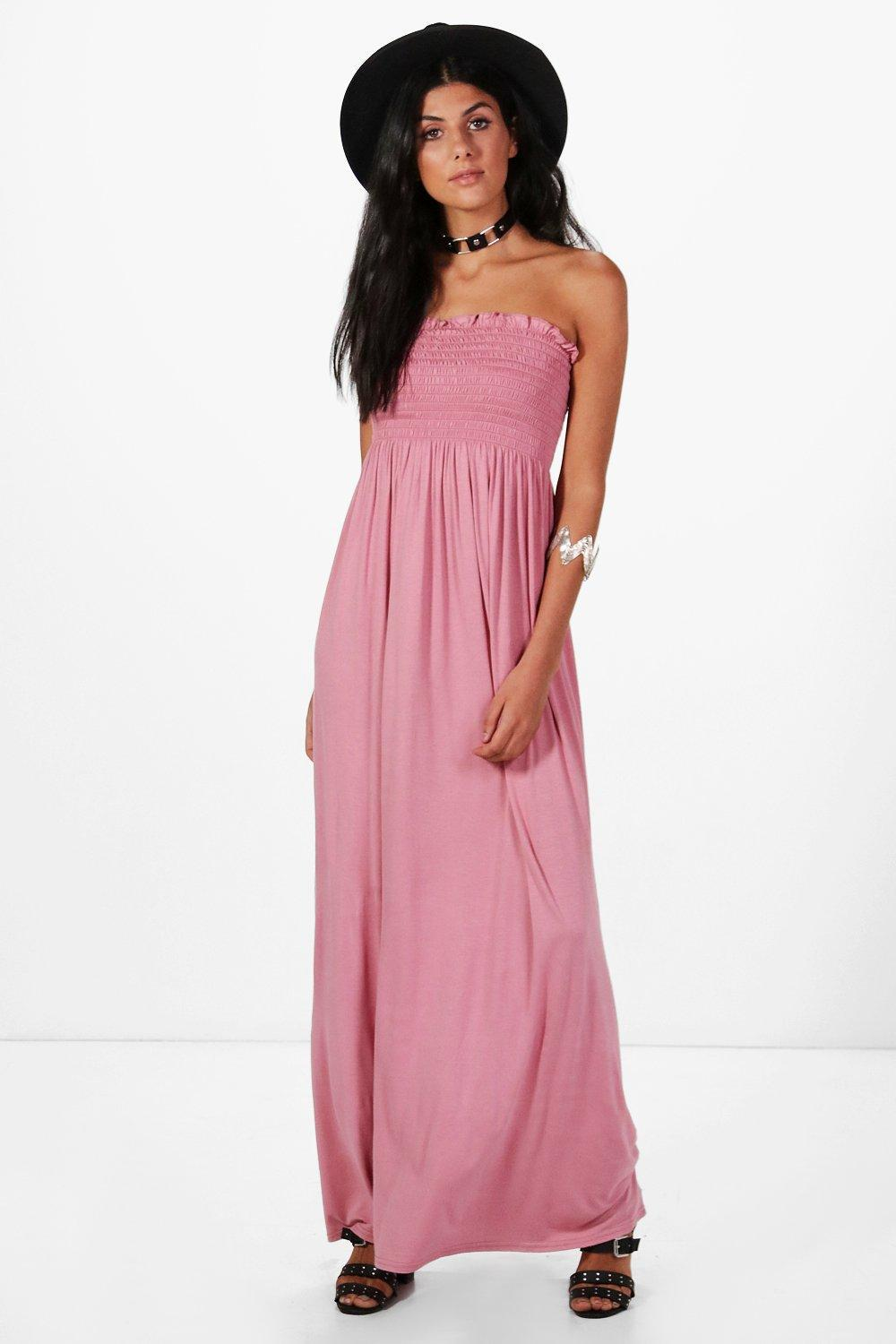 312dcde729a0c Lyst - Boohoo Shelley Shirred Bandeau Maxi Dress in Pink