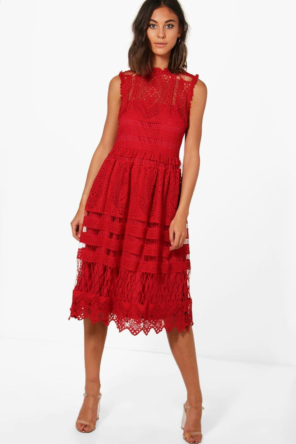 4665b92ff0cb Boohoo Boutique Lace Midi Skater Dress in Red - Lyst