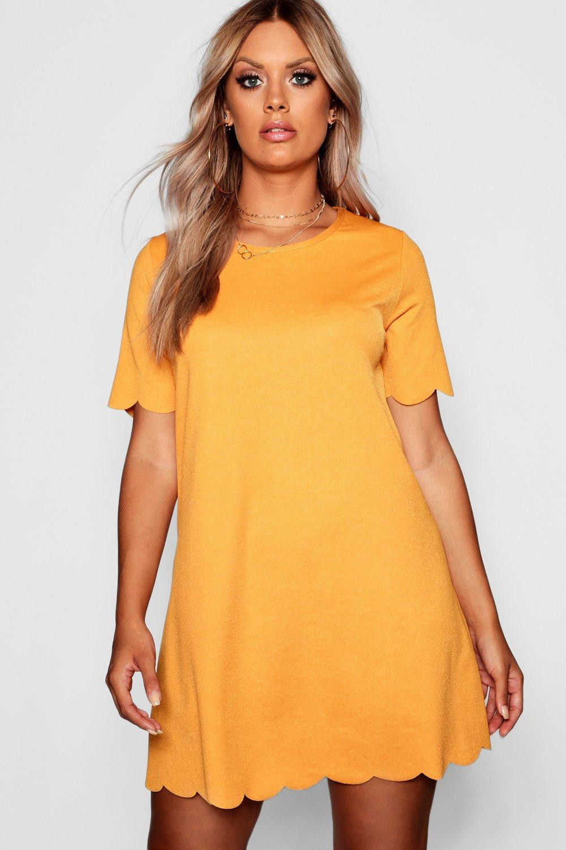 bfcfbb63a08a Boohoo Plus Scallop Edge Shift Dress in Orange - Lyst
