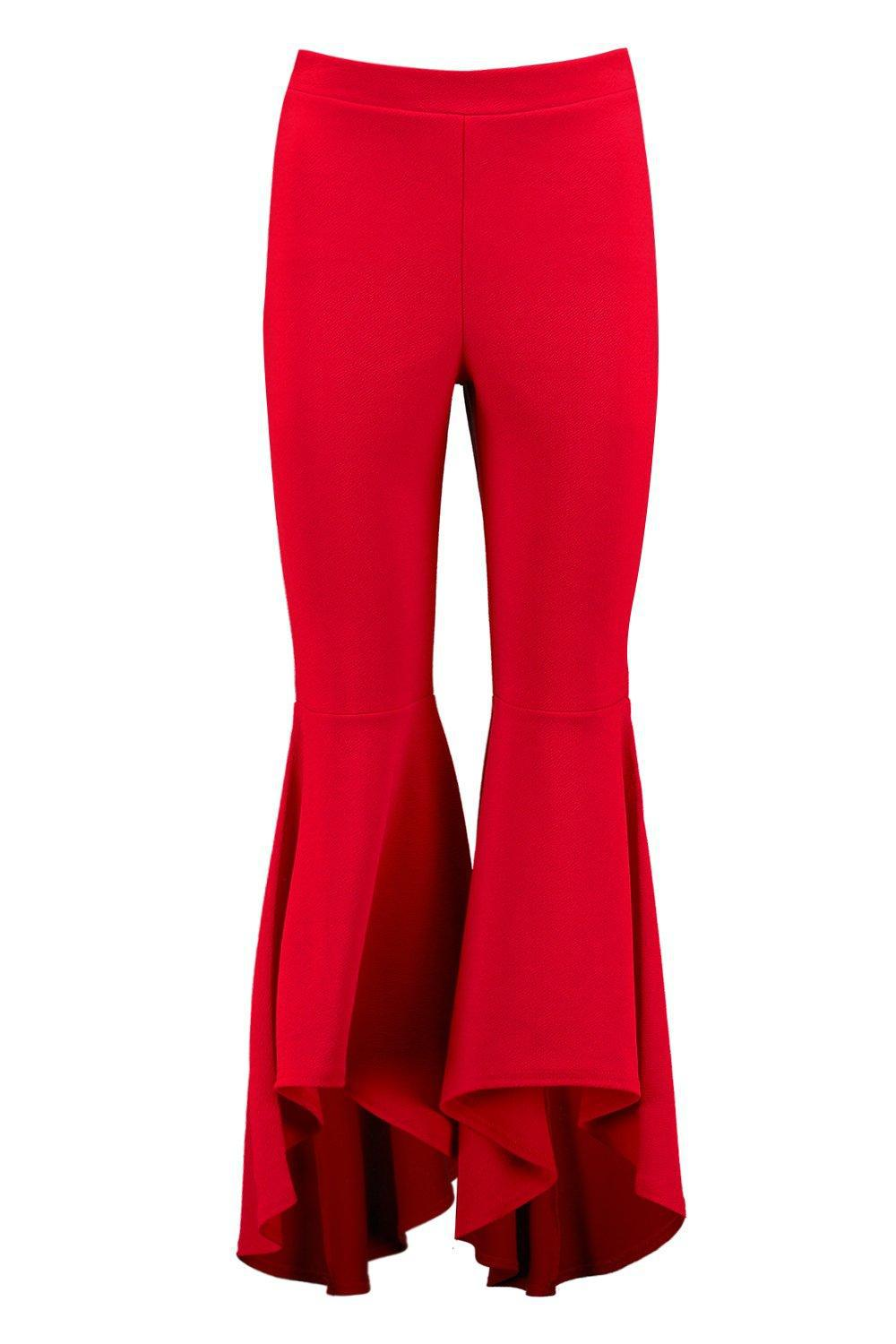88efcf577713 Boohoo Avah Ruffle Wide Leg Trousers in Red - Lyst