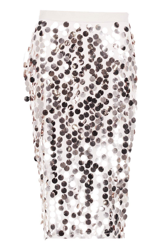 3f505746 Boohoo Boutique Kati Larger Sequin Midi Skirt in Metallic - Lyst