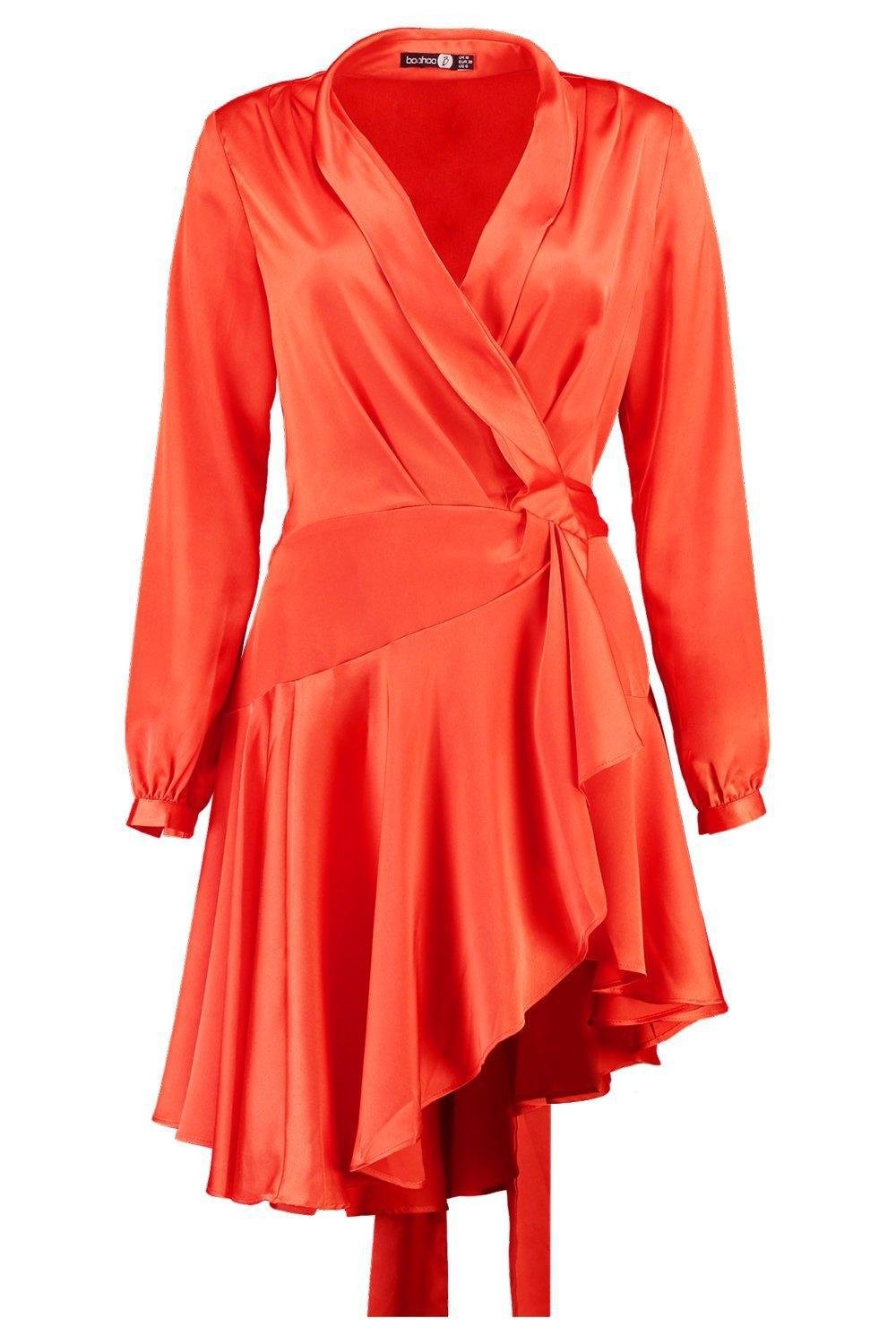 Boohoo Boutique Alice Satin Wrap Skater Dress in Orange - Lyst 3ffa2f1be
