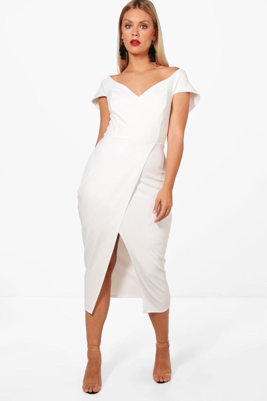 dd5962db36b Lyst - Boohoo Plus Off The Shoulder Wrap Midi Dress in White