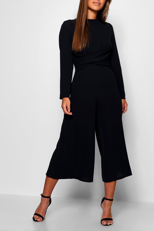 81e469fc62d Boohoo - Black Petite Knot Front Culotte Jumpsuit - Lyst. View fullscreen