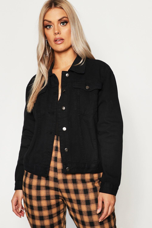 8a45f3c67e5 Lyst - Boohoo Plus Slim Fit Western Denim Jacket in Black