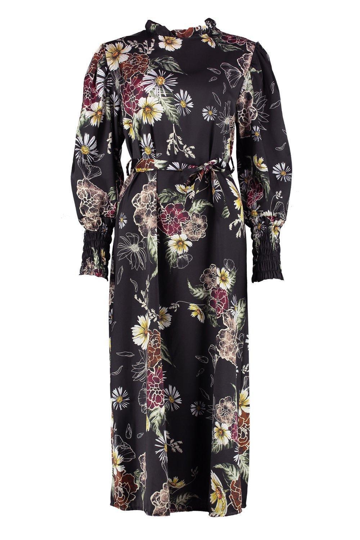 261e1a7a81 Lyst - Boohoo High Neck Volume Sleeve Floral Midi Dress in Black