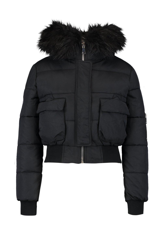 919e2792e5f59 Boohoo - Black Petite Luxe Faux Fur Hood Sporty Cropped Coat - Lyst. View  fullscreen