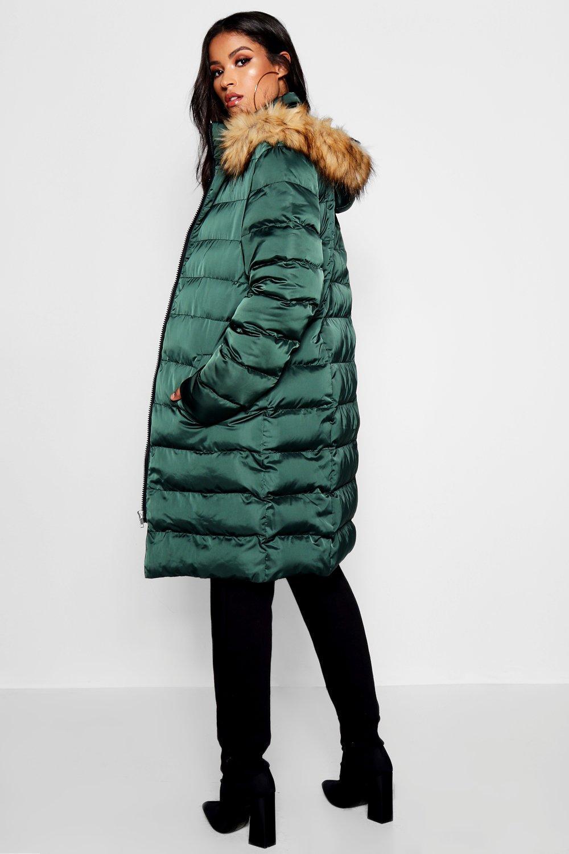 907cc52b9a5ee Boohoo - Green Maternity Padded Faux Fur Trim Coat - Lyst. View fullscreen