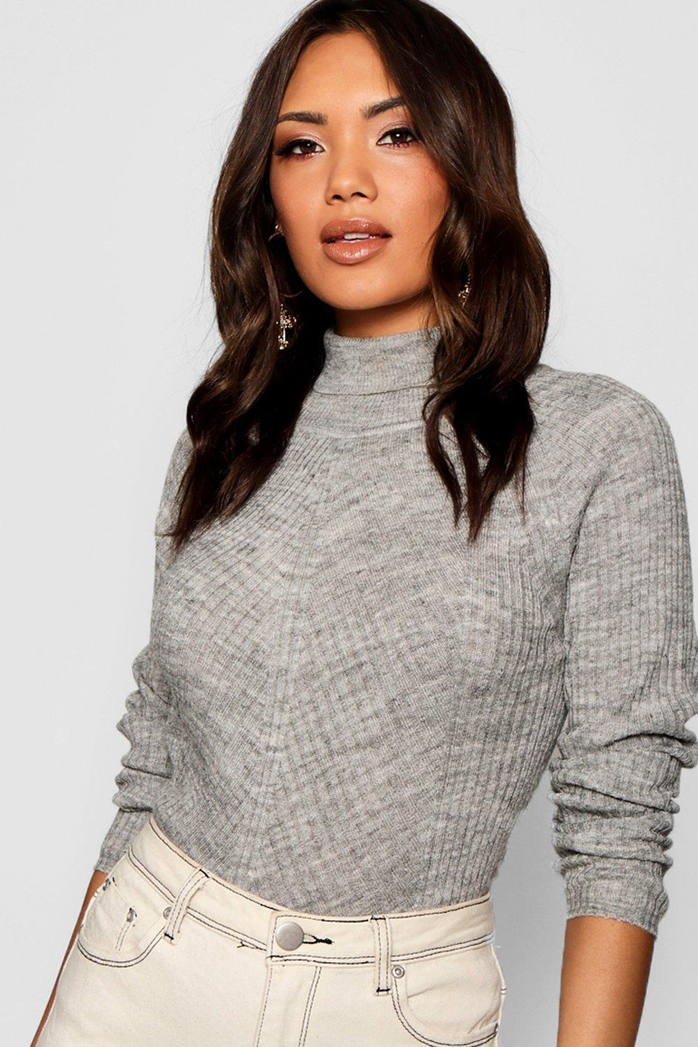 5f43f0b0cc625 Boohoo Rib Knit Roll Neck Jumper in Gray - Lyst