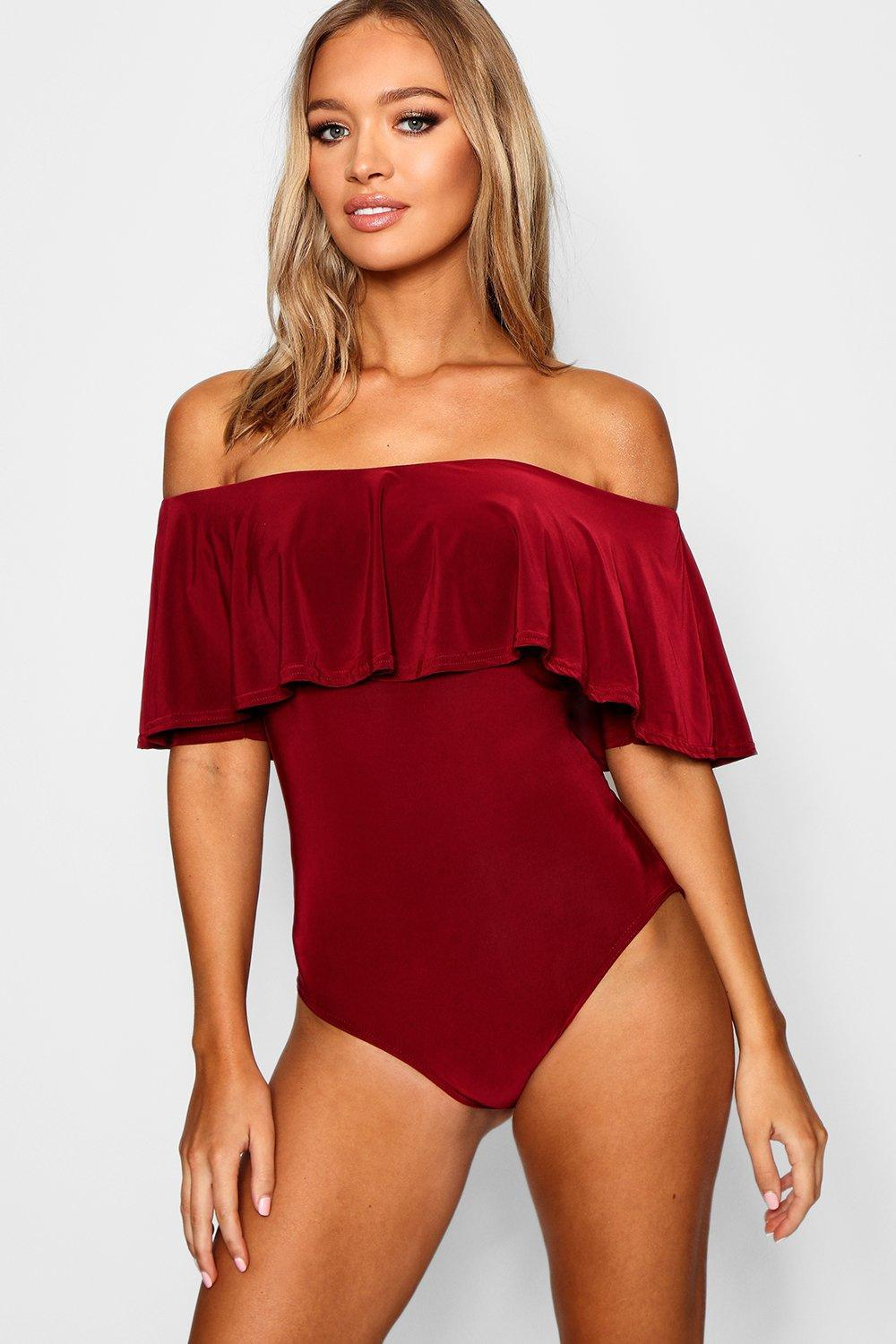 ad428ce49158 Boohoo Slinky Off The Shoulder Bodysuit - Lyst