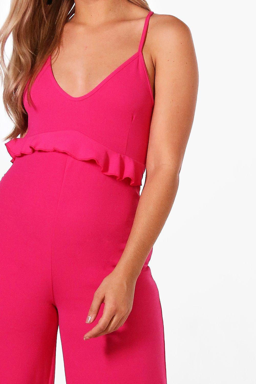 80181833784 Lyst - Boohoo Plus Crepe Ruffle Waist Wide Leg Jumpsuit in Pink