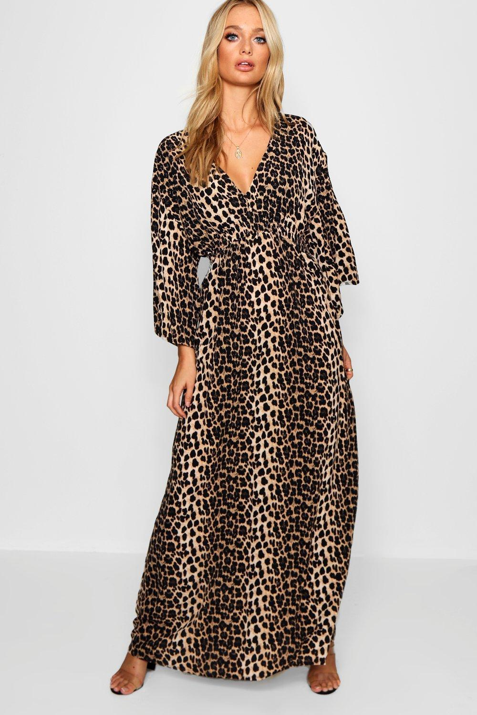 78831860bfb Boohoo. Women's Leopard Print Maxi Kimono Sleeve Dress