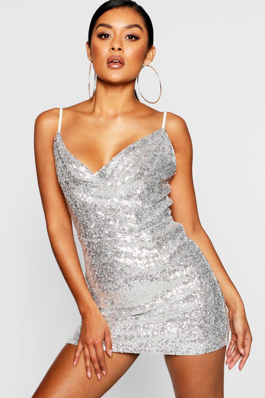 c02c7edd29a5 Boohoo Sequin Cowl Neck Bodycon Dress in Metallic - Lyst