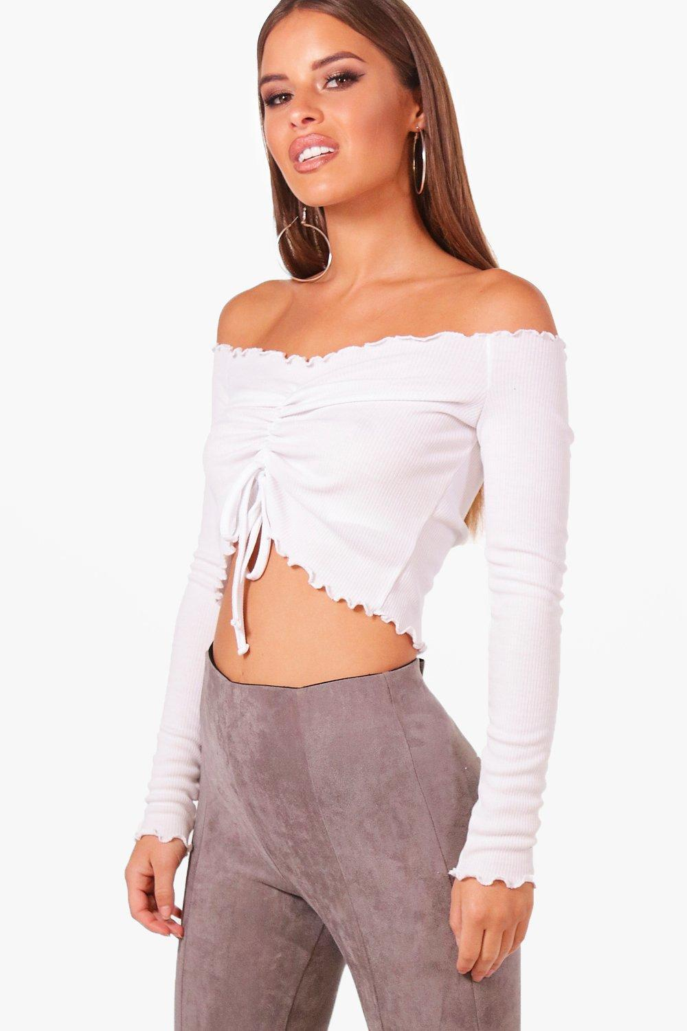 239a09e04a ... White Petite Ruched Front Bardot Rib Crop Top - Lyst. Visit Boohoo. Tap  to visit site
