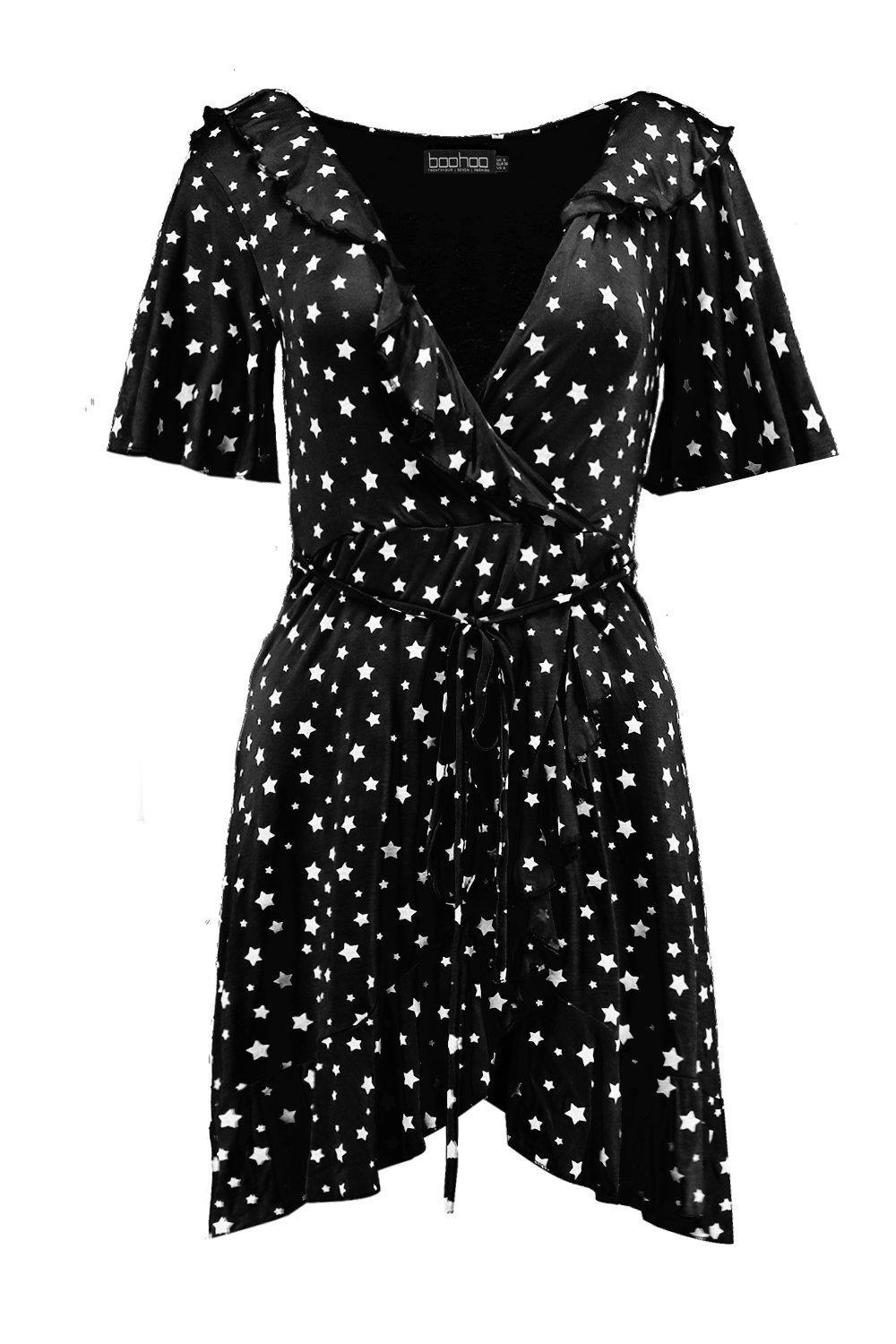 5e7c49e2937d Boohoo - Black Star Wrap Tea Dress - Lyst. View fullscreen