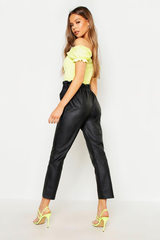 d0c7b5dd26e9 Boohoo - Black Paperbag Waist Leather Look Pu Trouser - Lyst. View  fullscreen