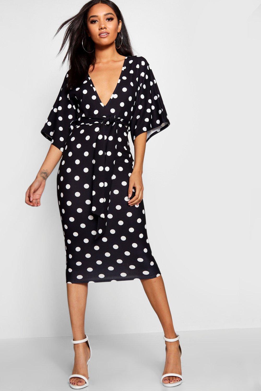 d792d5ab63e0 Boohoo Petite Polka Dot Tie Waist Plunge Midi Dress in Black - Lyst