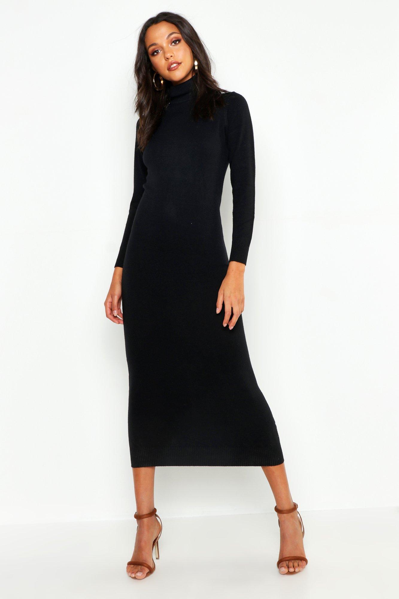 7c77d3045d Lyst - Boohoo Tall Soft Knit Roll Neck Jumper Dress in Black