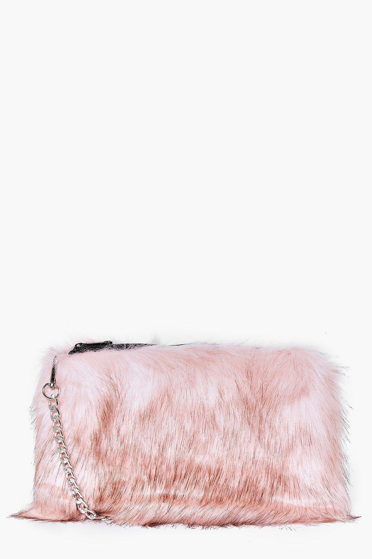 Lyst - Boohoo Mia Faux Fur Cross Body Bag in Pink 7ff5a5ec92063