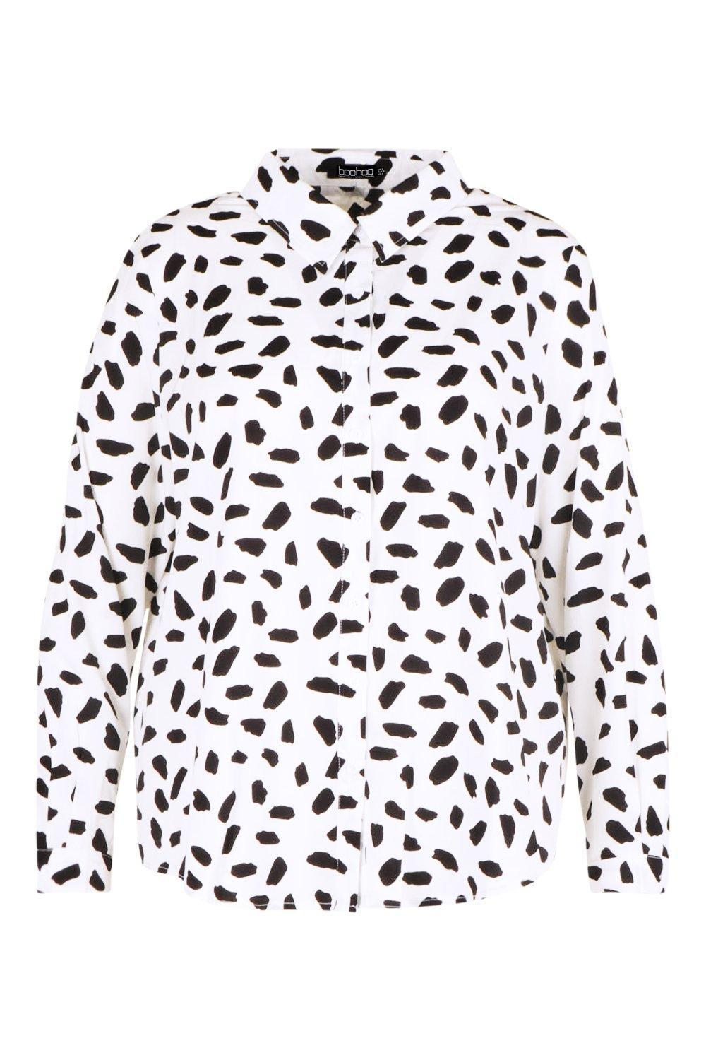 Boohoo Plus Dalmatian Oversized Shirt in White - Lyst 283c1a9ff6