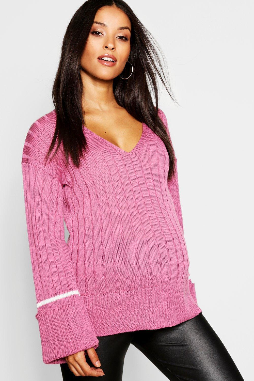 b3a953aced1fa Boohoo - Pink Maternity Wide Rib Knitted Jumper - Lyst. View fullscreen