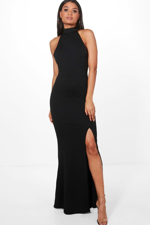 047198c4b2 Lyst - Boohoo High Neck Extreme Split Front Maxi Dress in Black