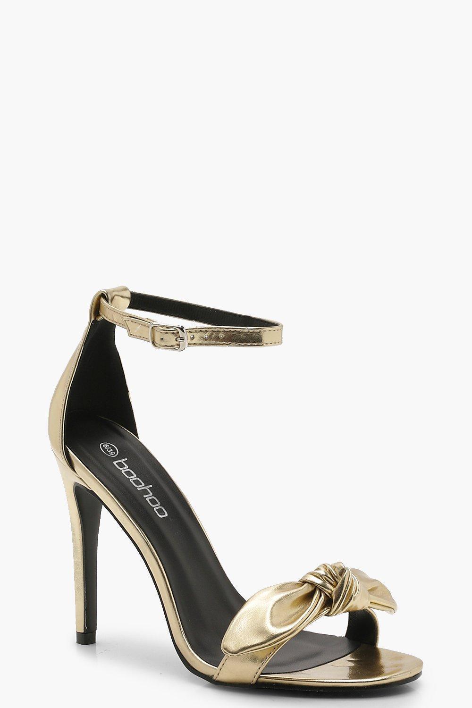 0ea6d5749d8 Boohoo Metallic Bow Front Two Part Heels in Metallic - Lyst