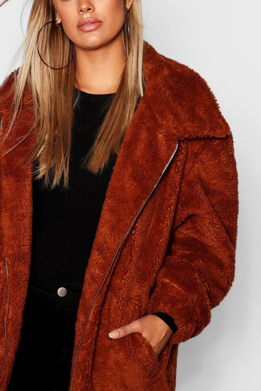 fc18c46c4b Lyst - Boohoo Plus Oversized Teddy Faux Fur Jacket in Brown