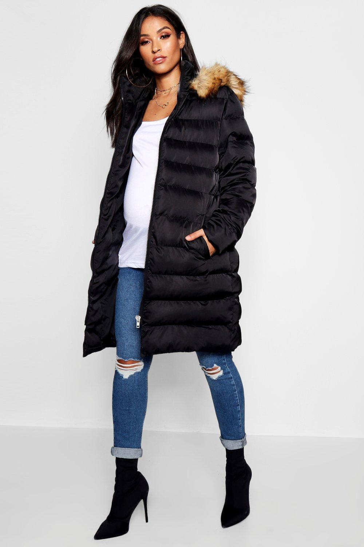 1630273910e6b Boohoo Maternity Padded Belted Faux Fur Trim Coat in Black - Lyst
